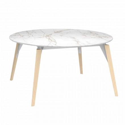 Runde Couchtischplatte mit Marmoreffekt, 3 Farben, 2 Größen - Faz Wood von Vondom