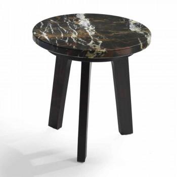Selmo Cocktailtisch mit schwarz-gold Marmorplatte, Durchmesser 45 cm
