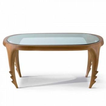 Designer Cocktailtisch aus Holz und Leder, L.97xp.68 cm, Cecilia