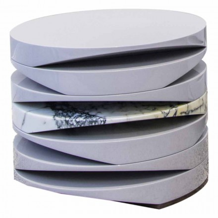 Couchtisch aus weißem Marmor mit Paonazzo-Einsatz Made in Italy - Life