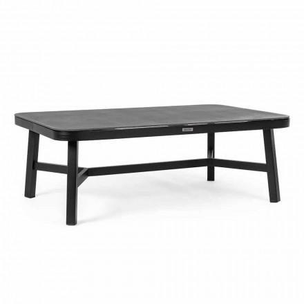 Tisch im Freien aus schwarzem Aluminium mit Homemotion - Morena Glasplatte