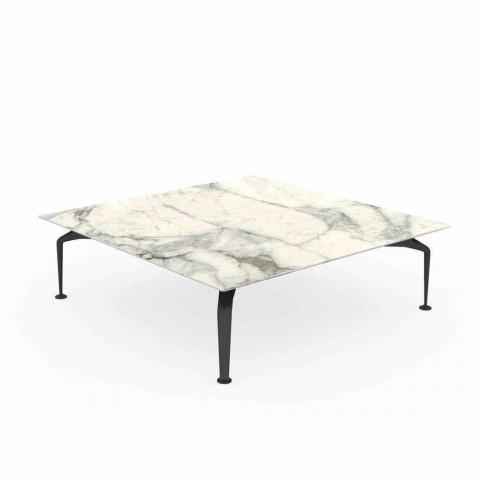 Quadratischer Tisch im Freien in Gre Calacatta und Aluminium - Cruise Alu von Talenti