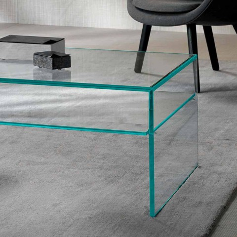 Bridge Couchtisch aus extra klarem Glas Made in Italy - Tifrana