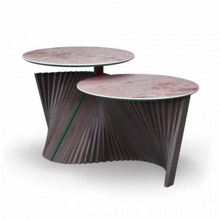 Luxus-Couchtisch mit 2 runden Tops in Gres Made in Italy - Stockholm