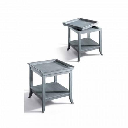 Couchtisch aus lackiertem grauem Holz, 60x60 cm Design Marcus