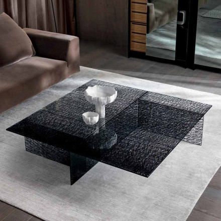 Design Couchtisch Extralight Dekoriertes Glas Made in Italy - Sestola