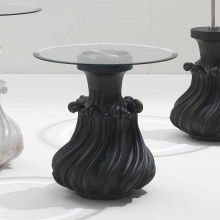 Couchtisch, Massivholz und Kristall  Durchmesser 60cm Margo