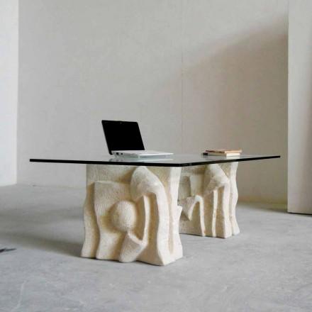 Couchtisch aus Stein und Kristall in modernem Design Priamo-S