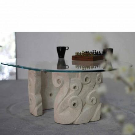 Couchtisch oval aus Stein und Kristall in modernem Design Lindos