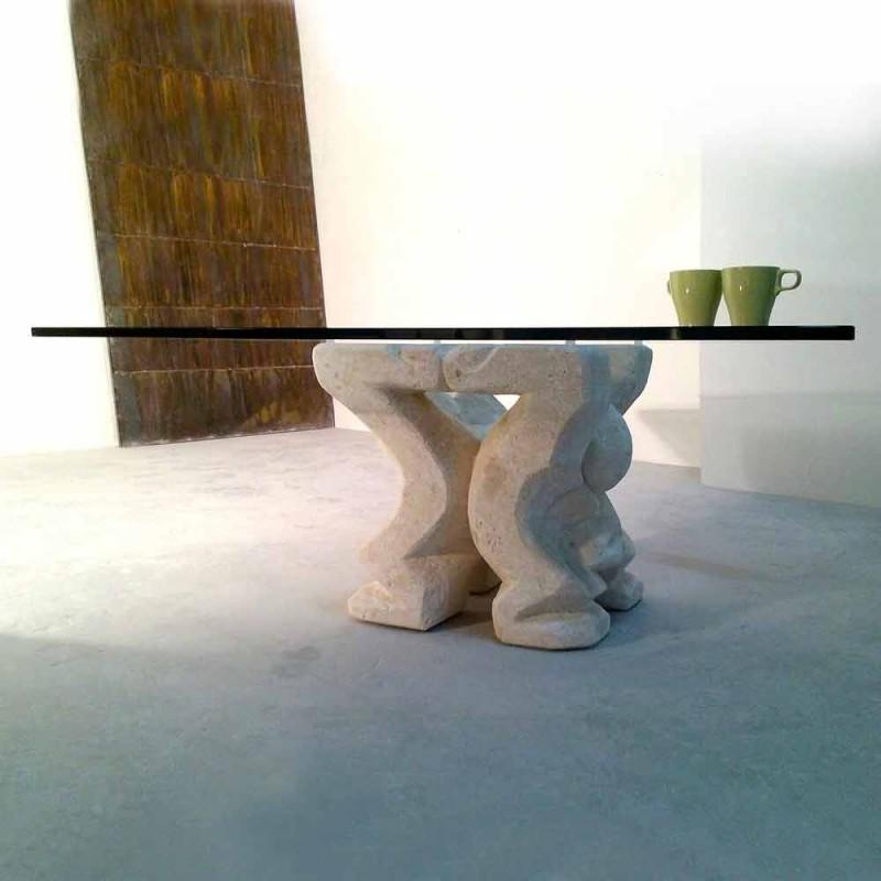 Couchtisch quadratisch Stein und Glas Wohnzimmer von Medusa-S-Design