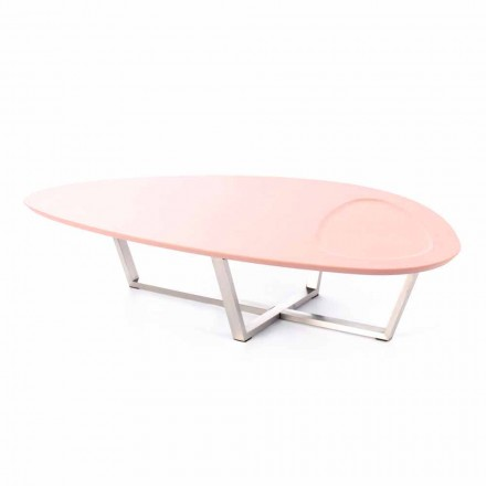 Moderner Loungetisch aus MDF und Chrom - Pimpa