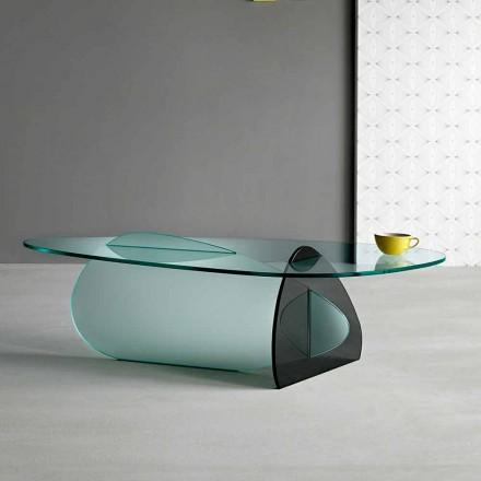 Design Couchtisch aus transparentem, geräuchertem und geätztem Glas Made in Italy - Tac Tac