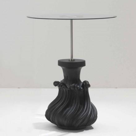 Tischchen aus Kristall/Massivholz, Schwarz, Durchmesser 60, Margo