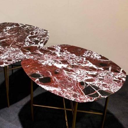 Design Couchtisch aus Marmor Rosso di Levanto und Metall - Morbello