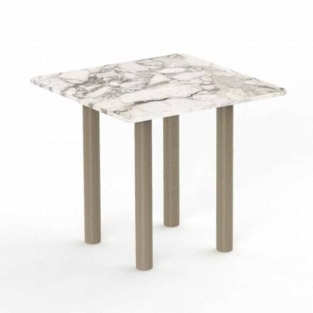 Quadratischer Couchtisch im Freien aus Aluminium und Gres - Panama von Talenti