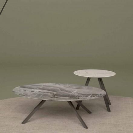 Lounge-Tisch aus Orobico- oder Calacatta-Marmor und Metall Made in Italy - Sirena