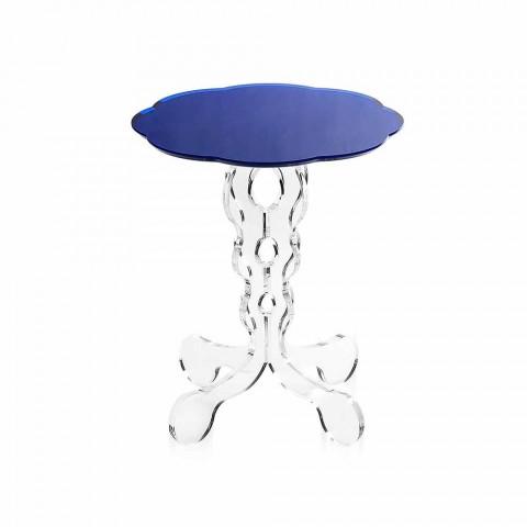Blauer runder Tisch Durchmesser 36 cm modernes Design Janis, made in Italy
