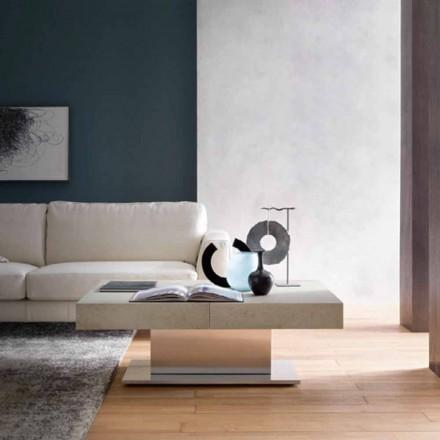 Moderner umwandelbarer Couchtisch, Mörtel-Effekt-Platte Made in Italy - Salomon