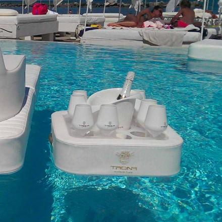 Schwimmender Poolbar aus Kunstleder und Plexiglas Trina