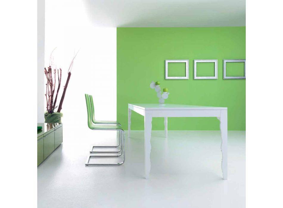 Ausziehbarer Tisch aus weiß lackiertem Holz bis 2,5 m mit gedrehten Beinen - Konzept
