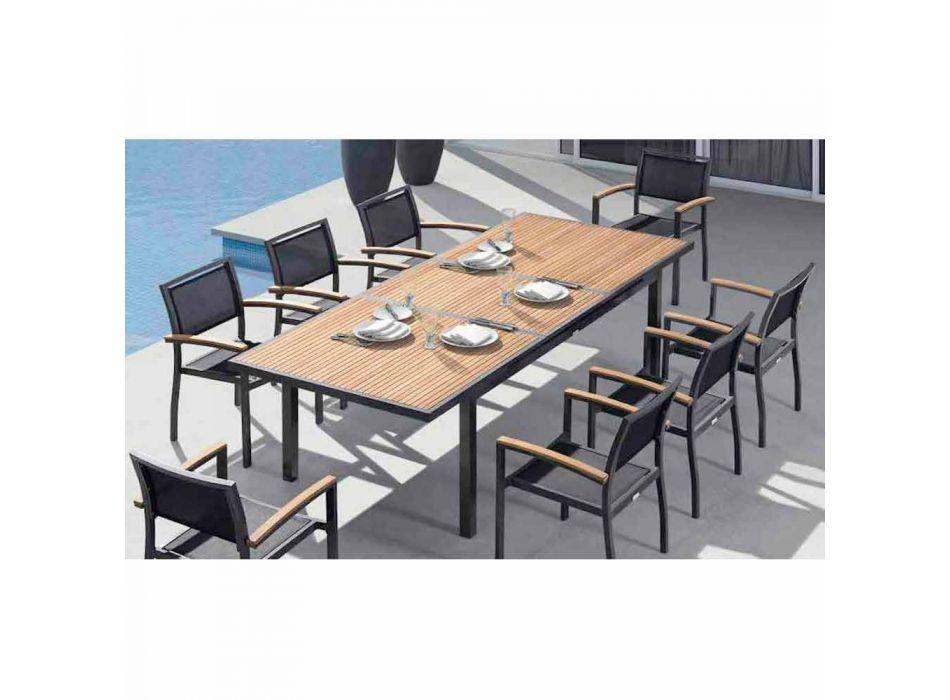 Ausziehbar auf 240 cm Außentisch aus Aluminium und Teakholz - Bilel