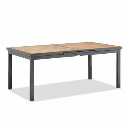 Ausziehbarer Tisch bis 240 cm vom Außenbereich aus Aluminium und Teakholz - Venera