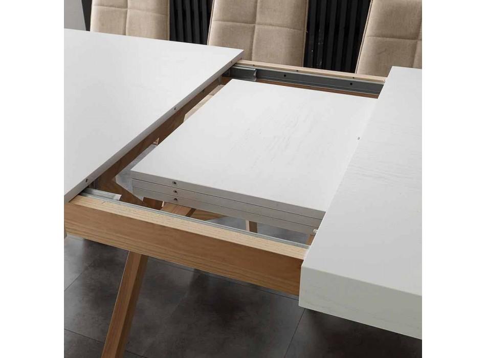 Weißer ausziehbarer Tisch mit Rico-Massivholzrahmen
