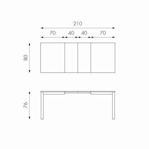 Ausziehbarer Tisch mit Beinen aus Buchenholz, L130 / 210xP80cm, Denisio
