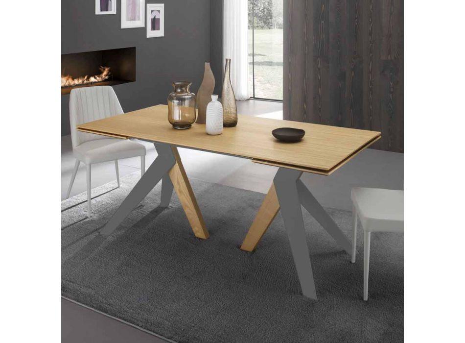 Ausziehbarer Designtisch mit Daryleichenplatte, made in Italy