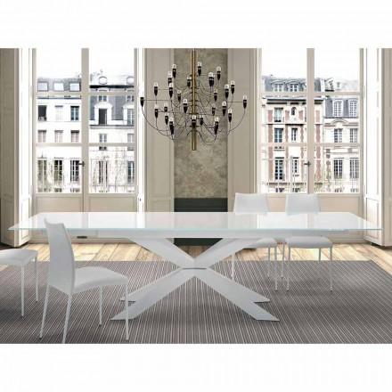 Esstisch ausziehbar bis 300 cm aus Glas und Stahl – Grotta
