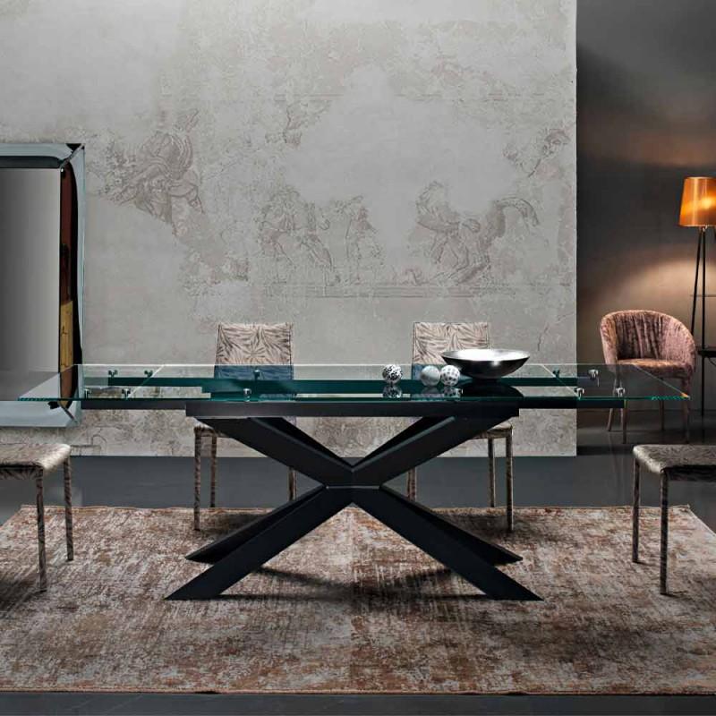 Ausziehbarer Tisch bis zu 300 cm aus Glas und schwarzem Stahl Made in Italy - Grotta