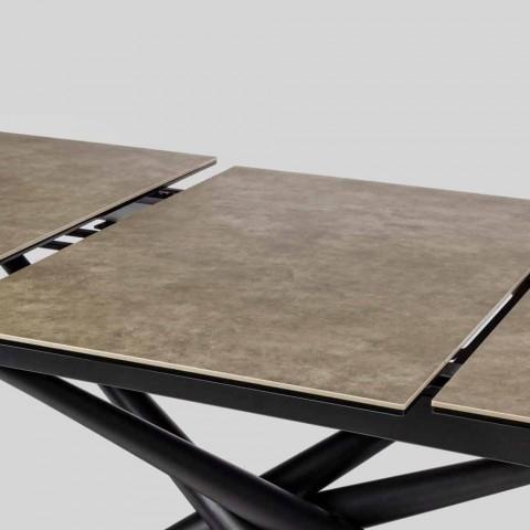 Ausziehbarer Tisch Bis zu 220 cm in Keramik und Stahl Homemotion - Brianza