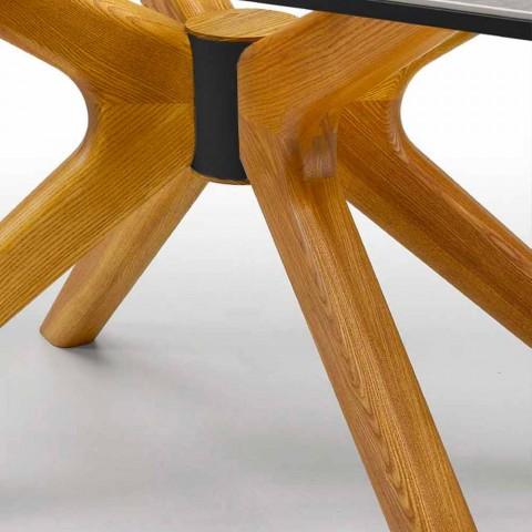Ausziehbarer Tisch Bis zu 260 cm aus Steinzeug, Marmor und Holz Made in Italy - Malita