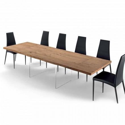 Esstisch ausziehbar bis 300 cm aus Furnierholz und Glas – Strappo