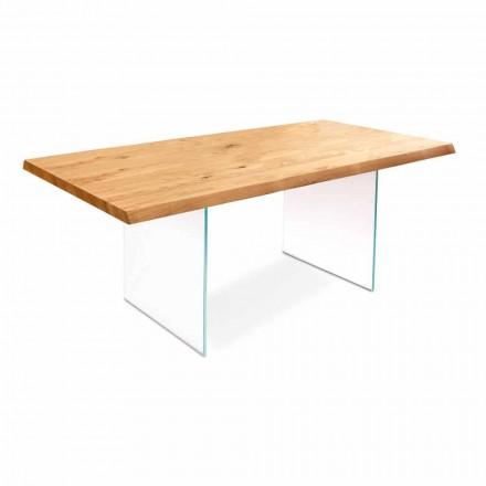 Ausziehbarer Esstisch aus Eichenholz und Glas - Nico