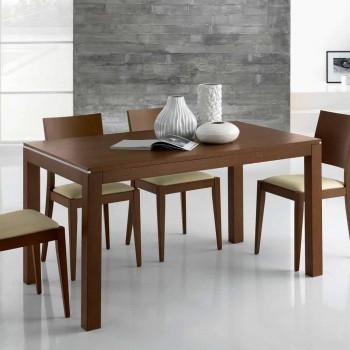 Ausziehbarer Tisch aus Eschenholz mit Seitenbändern aus Esche - Ketla