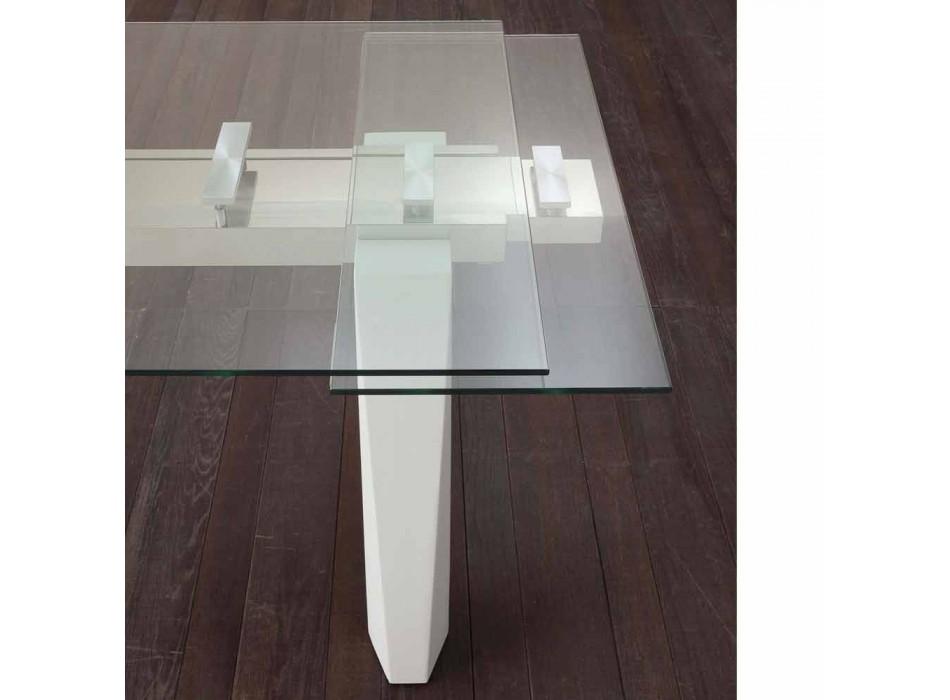 Florida Ausziehtisch aus Glas, Edelstahl und Weißmetall