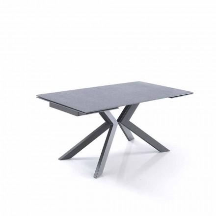 ausziehbarer Tisch aus Glas und Metall im Design - Piersilvio