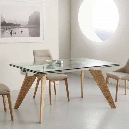 Tisch verlängerbar aus Glas, Edelstahl und Eschenholz Michigan