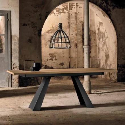 Moderner seitlich ausziehbarer Tisch aus Eichenholz made in Italy, Zerba