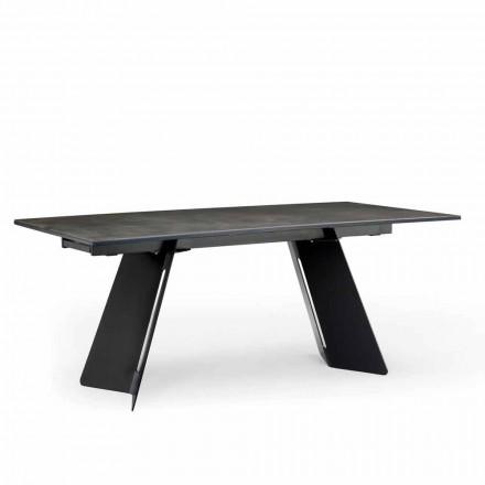 Moderner ausziehbahrer Esstisch mit einer Tischplatte aus Steingut made in Italy, Erve