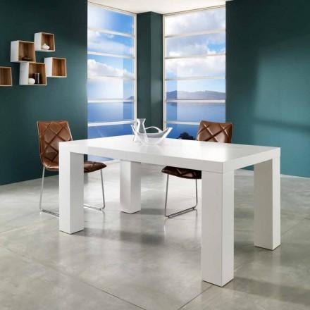 Moderner ausziehbarer Tisch in matt Demy weiß lackiert