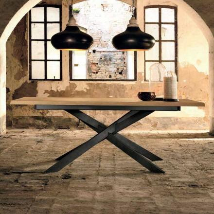 Design ausziehbarer Tisch aus Eichenholz made in Italy, Oncino