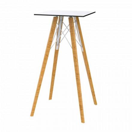 Square Design High Bar Tisch in Holz und HPL, 4 Stück - Faz Wood von Vondom