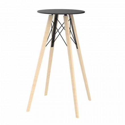 Runder Design-Stehtisch aus Holz und HPL, 4 Stück - Faz Wood von Vondom