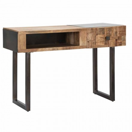 Konsolentisch aus Eisen und Akazienholz mit Designschublade - Dena