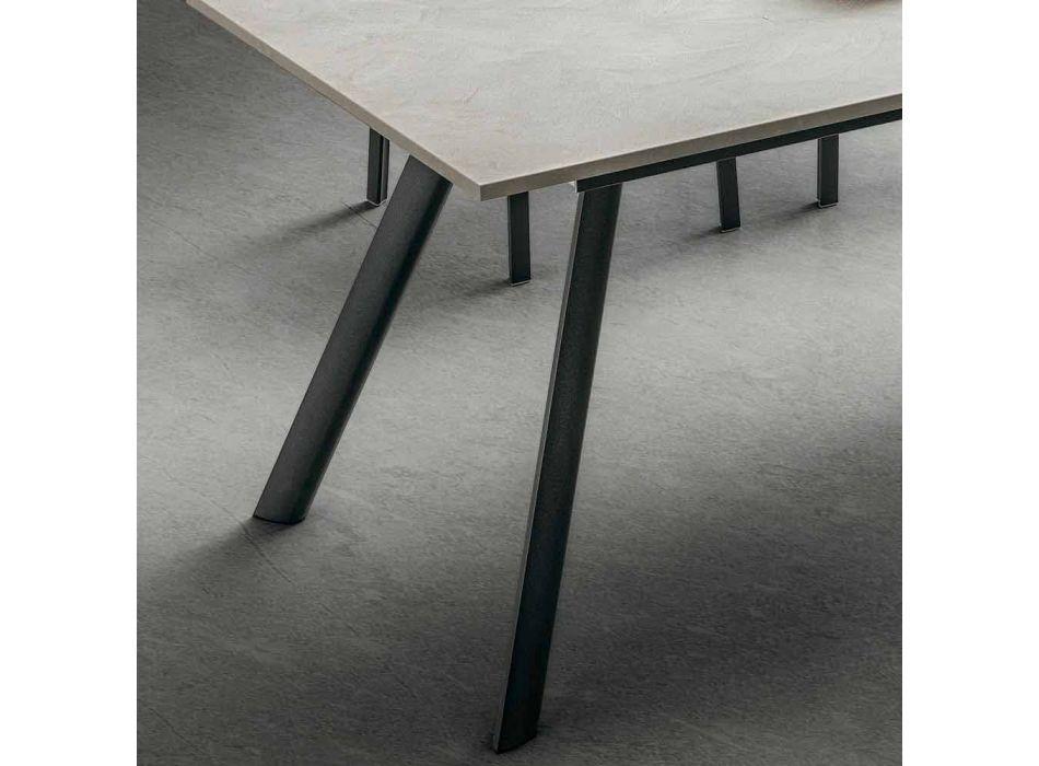 Ausziehbarer Küchentisch bis 210 cm Steinoptik Made in Italy - Giocondo