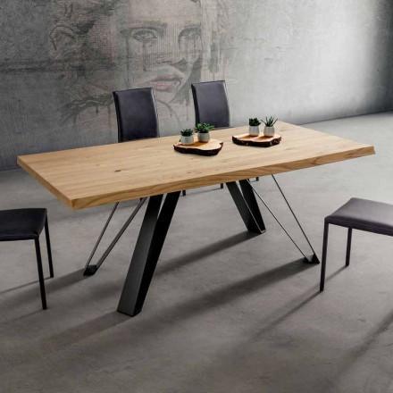 Küchentisch mit entrindeter Holzplatte Made in Italy, Precious - Aresto