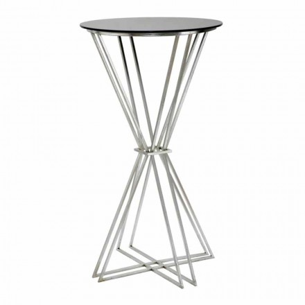 Runder Stehtisch mit modernem Design aus Eisen und Glas - Benita
