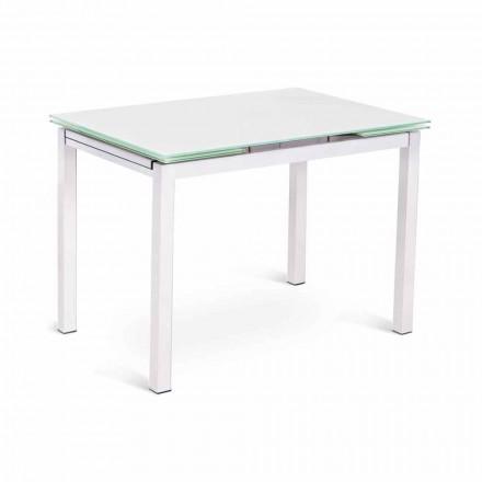 Ausziehbarer Tisch in modernem Design bis 200 cm in Glas und Metall - Stempel